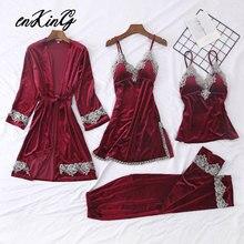 Autumn Winter Warm Velvet Pajamas Set 4 Pcs Women Sexy Sleepwear For Lace Pyjama Nightdress Femle Homewear