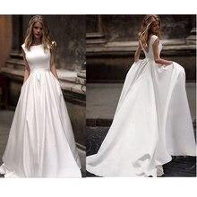 Lorie Hochzeit Kleider Mit Tasche 2019 Vestido de novia Satin Weiß Ärmellose Brautkleider Bodenlangen Brautkleid