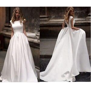 Image 1 - Lorie robe de mariée en Satin blanc avec poches, robe de mariée sans manches, robe de mariée à longueur au sol, 2019