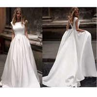 Lorie vestidos de novia con bolsillo 2019 Vestido de novia satén blanco sin mangas vestidos de novia largo hasta el suelo