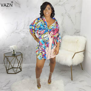 VAZN Dress Sexy Button T-Shirt Colors Full-Sleeve Print Summer SMR9358 New-Product