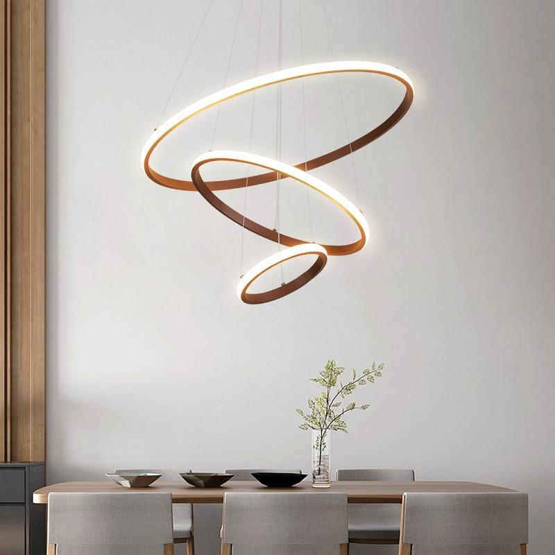 Işıklar ve Aydınlatma'ten Kolye ışıkları'de Kahverengi/beyaz Modern LED kolye ışıkları oturma odası için yemek odası mutfak hanglamp daire yüzükler alüminyum kolye lamba armatürleri title=