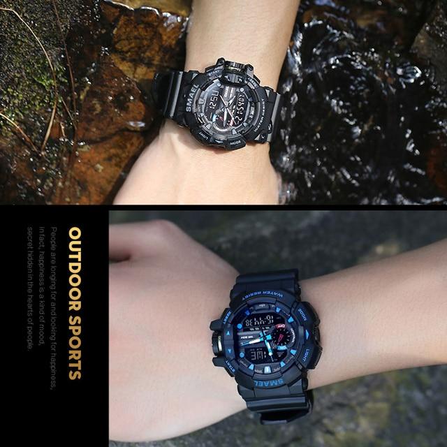 SMAEL Men Sports Watch Military Watches LED Quartz Dual Display Waterproof Outdoor Sport Men's Wristwatches Relogio Masculino 6