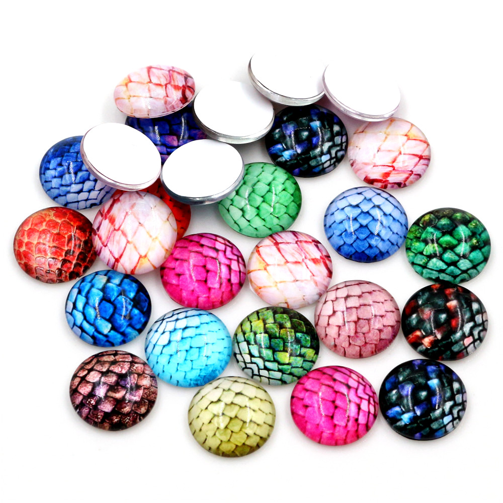 20pcs/Lot 14mm 16mm 18mm Handmade Mix Glass Cabochons Fit 14mm 16mm 18mm Cameo Cabochon Base For Bracelet Ear Studs