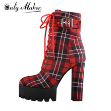 Onlymaker Women's Platform Ankle Boots Buckle Strap Chunky Heel Red Plaid Lace Up Side Zipper Round Toe Booties For Winter