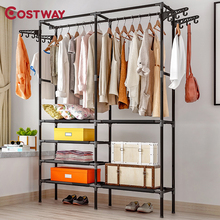 COSTWAY Clothes Hanger Coat Rack Floor Hanger Storage Wardrobe Clothing Drying Racks porte manteau kledingrek perchero de pie modern simple coat rack floor standing coat hat rack bedroom living room clothes hanger hanging storage clothes racks