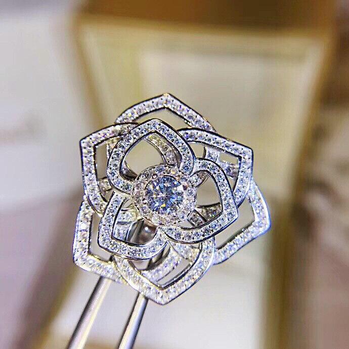 Marque de mode de luxe bijoux S925 en argent sterling creux rose zircon anneau pour les femmes - 4