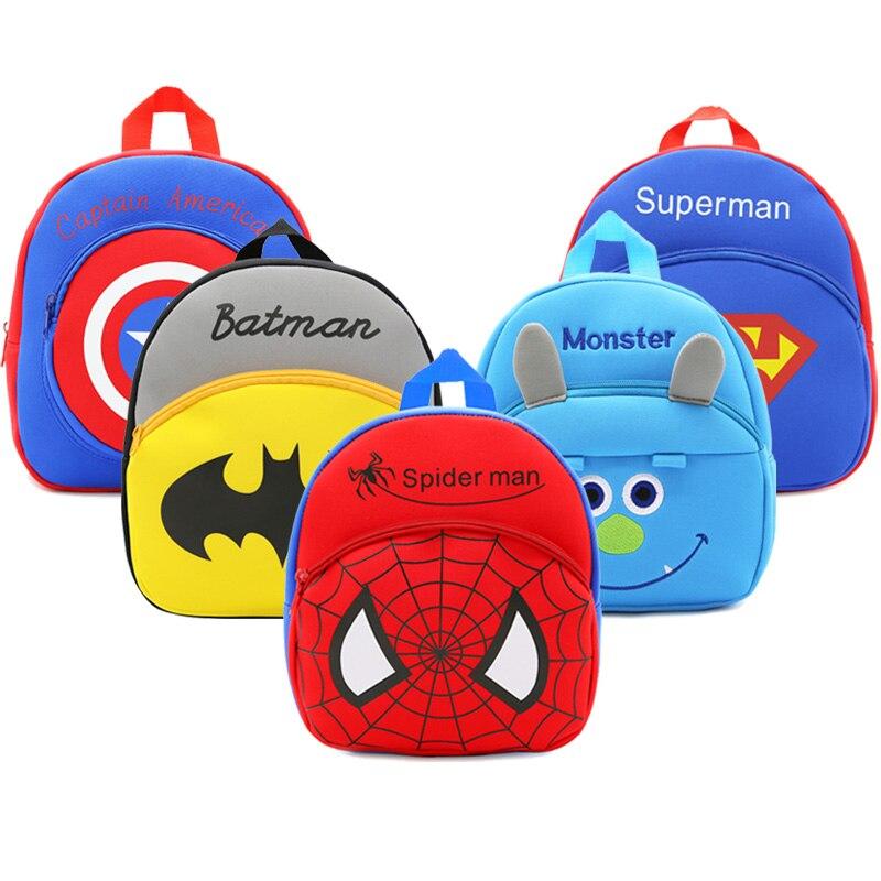 Children School Backpack Cartoon Spider Man Design Waterproof Neoprene Fabric For Toddler Boys Kindergarten Kids School Bags