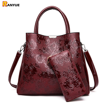 高級エンボス花ハンドバッグ女性バッグ女性の革のショルダーバッグハンドバッグ女性の有名なブランドデザイナートート + 財布バッグショッピングバッグ