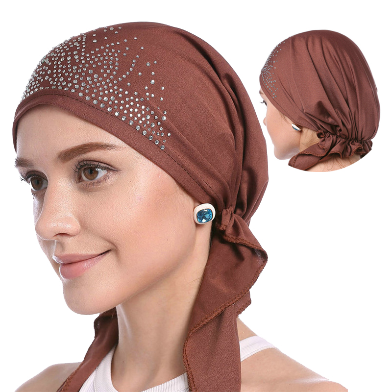 2019 Fashion Muslim Headscarf Hat Thin Summer Inner Hijab Caps Solid Color Diamond Turban For Women Bonnet India Headwrap Hats