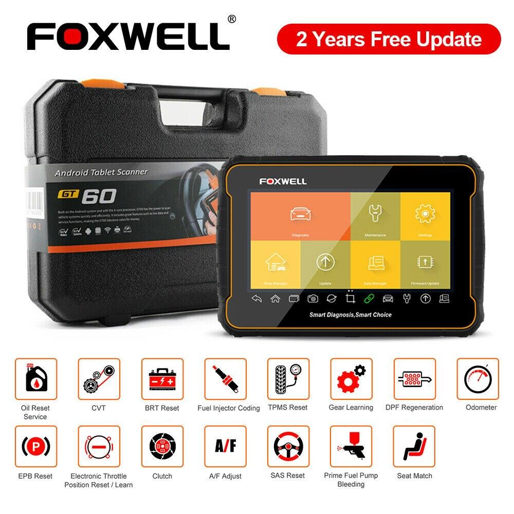 Foxwell-escáner automotriz GT60 OBD2, Sistema completo a aceite SRS DPF TPMS 19, herramienta de diagnóstico de coche automático PK MK808