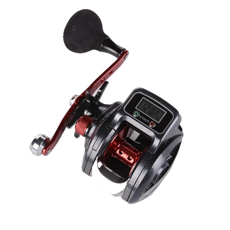 Carretel de pesca de arremesso com linha contador 16 1 rolamentos baitcaster roda display digital eletr