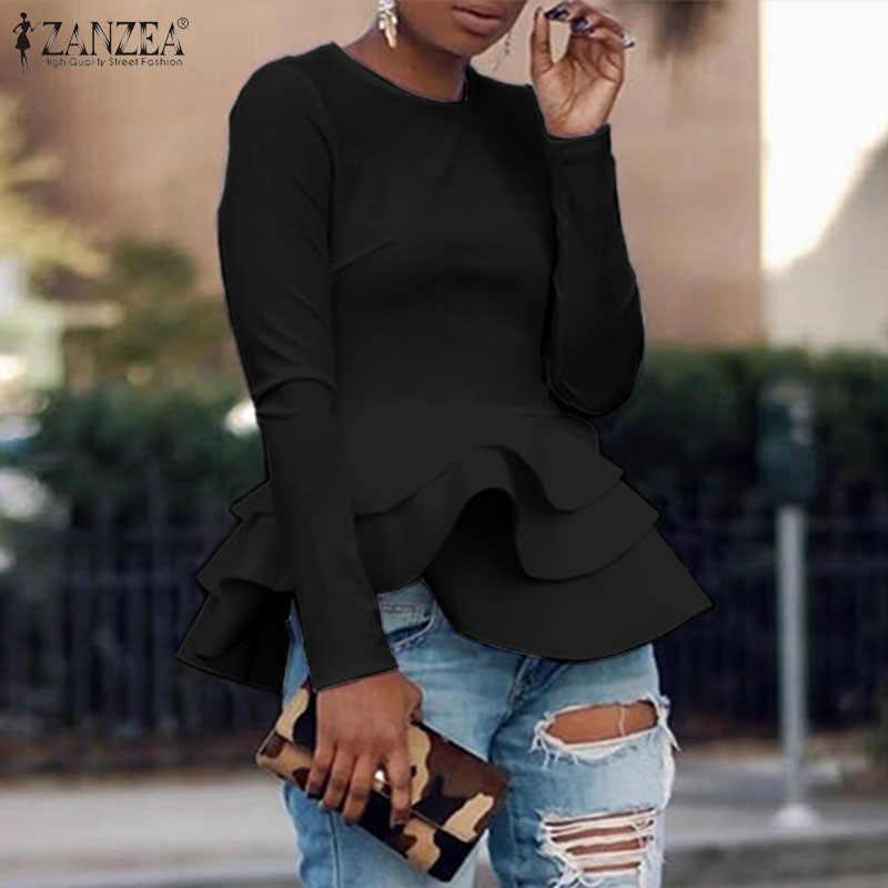 2020 Primavera casual Manica Lunga Camicette ZANZEA Moda Solid Balza Camicetta da Donna Elegante Lavoro OL Tunica Magliette e camicette Blusas Femminile Chemise