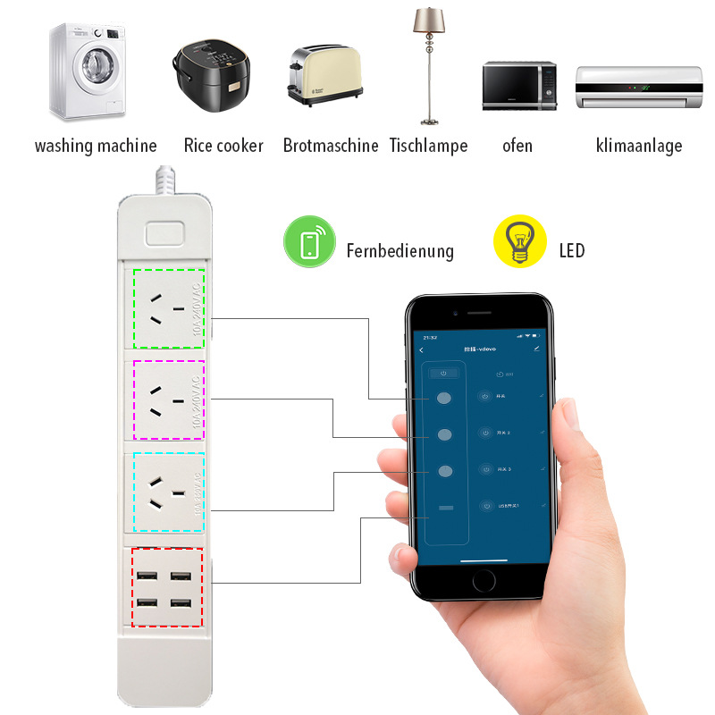 H750d93a5f5c6406bb1491ffcbb9d96a8F - Wifi Smart Power Strip Multiple Surge Protector 3 Way AU Plug Electrical Outlets Extension Sockets with USB by Alexa Google Home