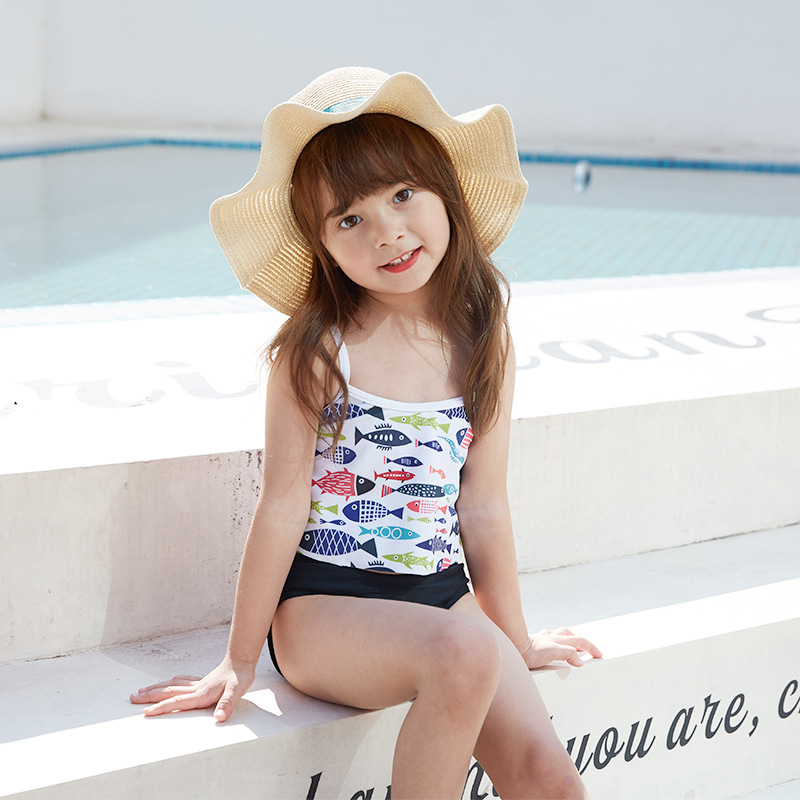 2020 New Style Children Two-piece Swimsuits Spa Resort Flounced Embellishment Swimming Trunks Fashion Small Middle And Large GIR