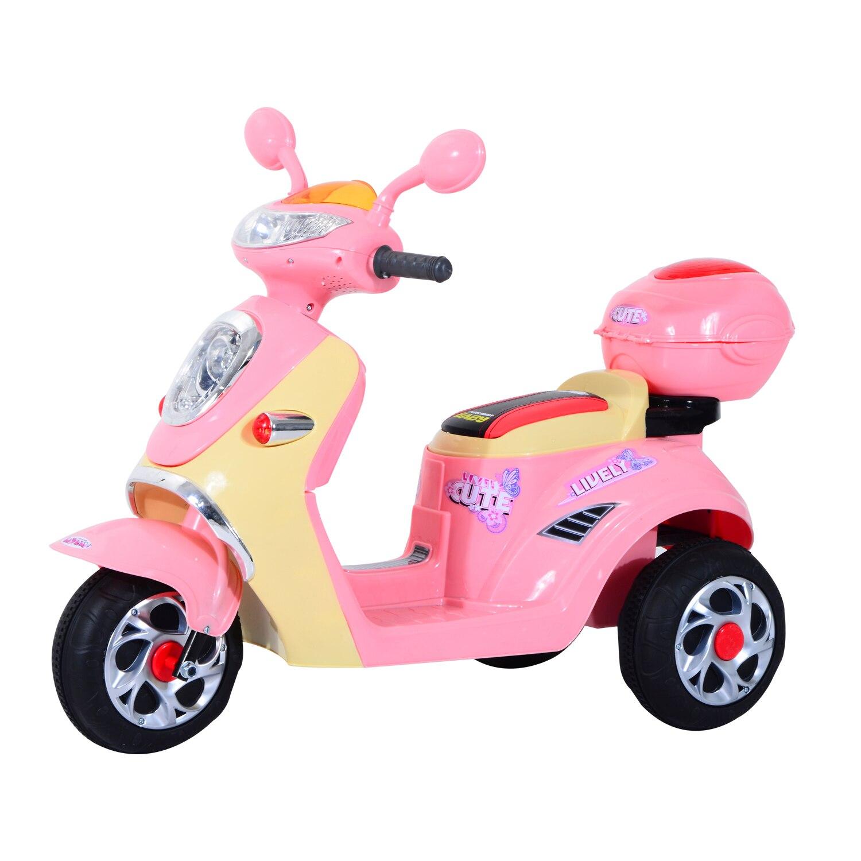 HOMCOM Coche Triciclo Moto Eléctrica Infantil Correpasillos a Batería Niños 3 8 años 6V Metal + PP 108x51x75cm Rosa|Coches para montarse| - AliExpress