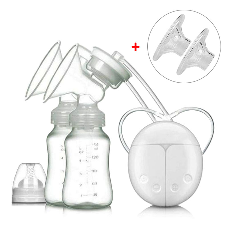 Electric Breast Pump With Milk Bottle Lactation Suck USB Breast Enlargement Pump With Message Heating Pads Feeding Nipples