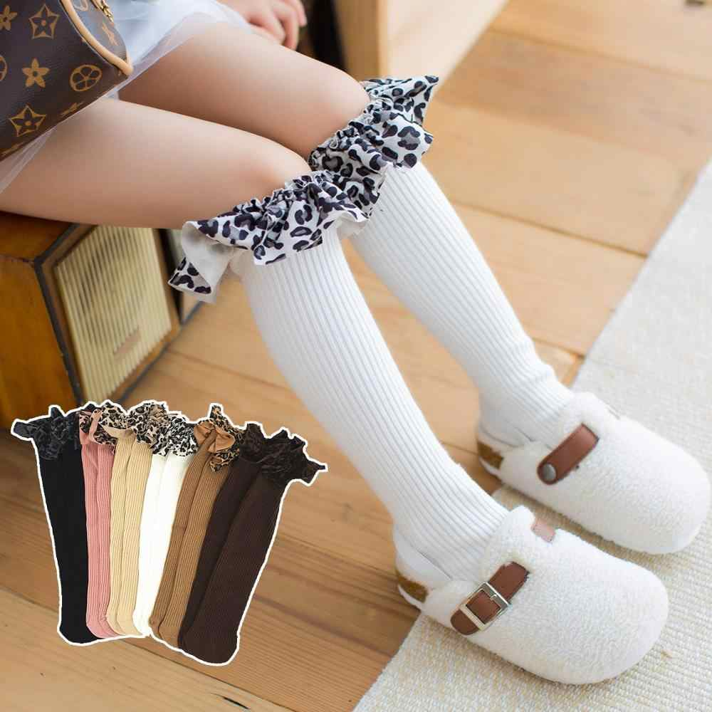 Autumn Winter Warm Cotton Children Knee High Socks with Leopard Ruffle Patchwork Socks Kid Princess Girls Baby Long Tube Socks