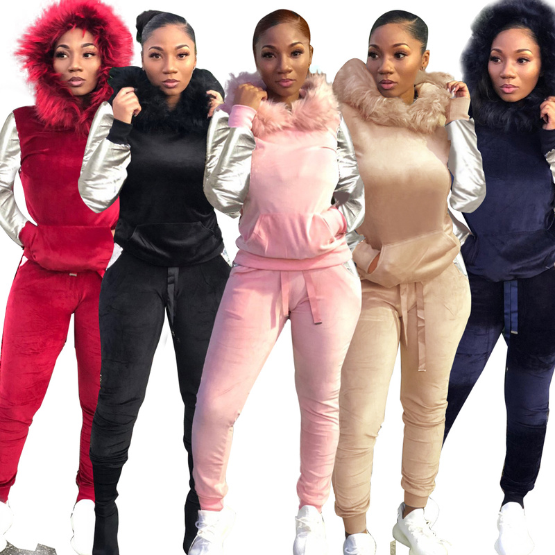 Faux Fur Hooded Plush Sets 2019 New Fashion Women Autumn Winter Long Sleeve Plush Tracksuit Casual Pants Set 2 Piece Set SL-08