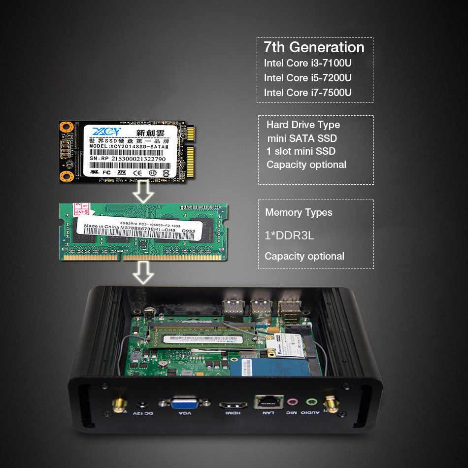 Mini pc intel core i7 7500u i5 7200u processador 7100u windows 10 linux jogos htpc computador 4k uhd htpc hdmi vga wi-fi minipc