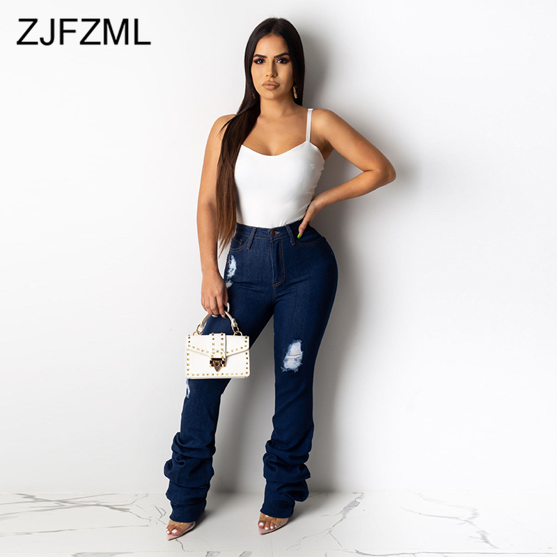 Sexy Ruched Ripped Jeans Women High Waisted Hole Blue Washed Denim Jeans Streetwear Parties Mujer Skinny Plus Size Long Jeans