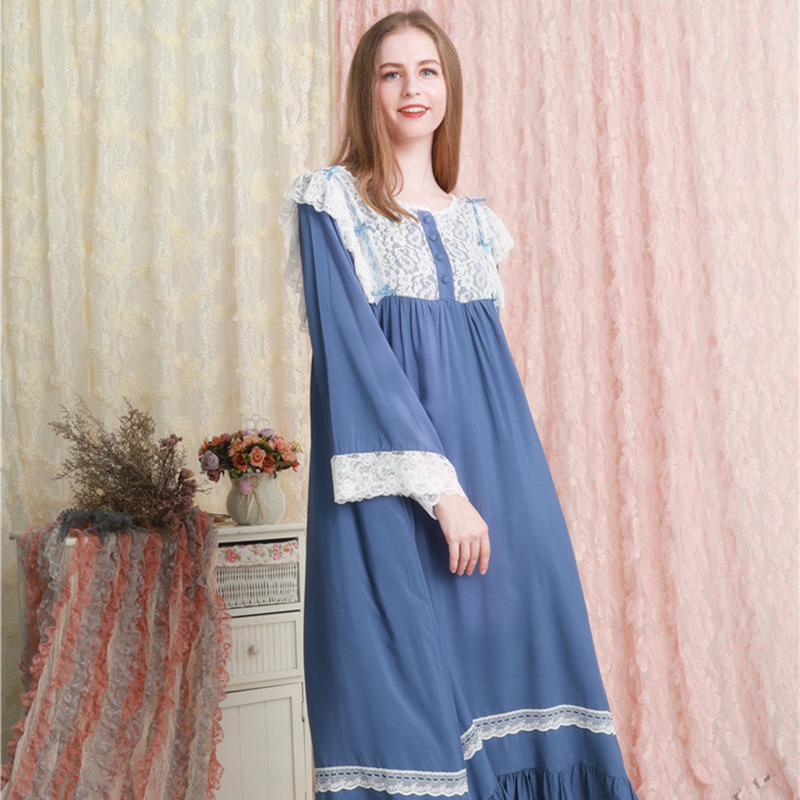 Nightgown Cotton Nightwear Retro Romantic Sleepwear Autumn Fall Pregnant Woman Nightgown Muslim Dress Plus Size Women Nighty
