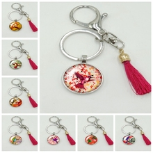 2019 New Hot National Wind Color Background Bird Series Glass Cabochon Tassel Keychain Fashion Jewelry Gift