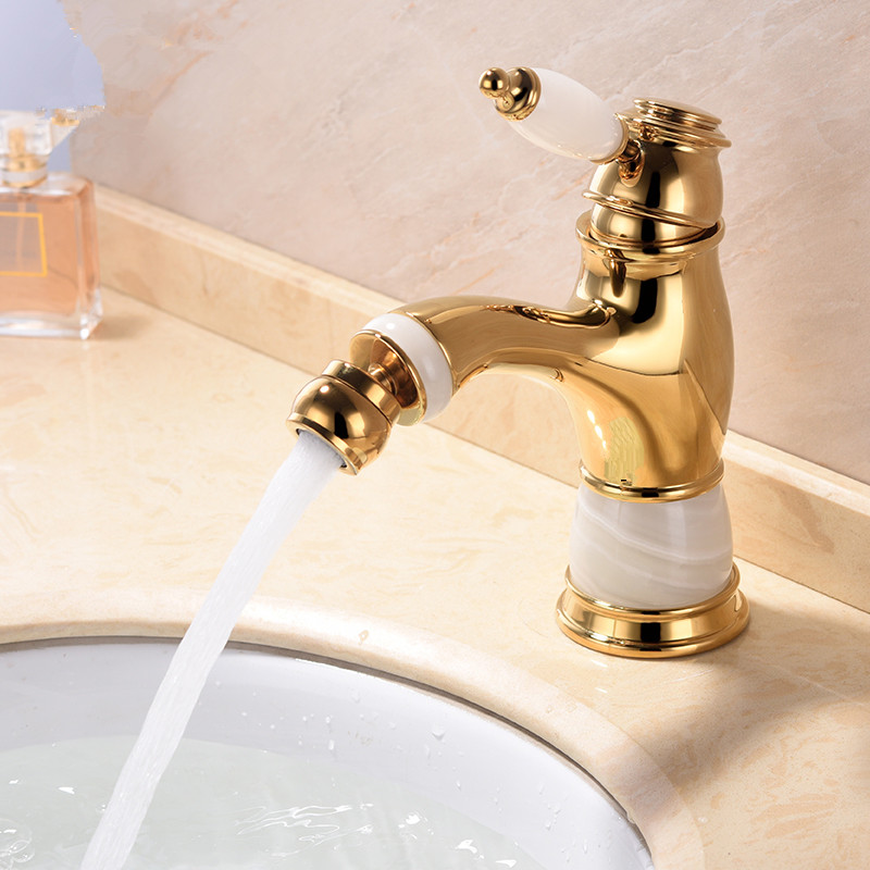 Brass and Jade single hole  gold Finish Bathroom Lav Sink Faucet Vessel Tap