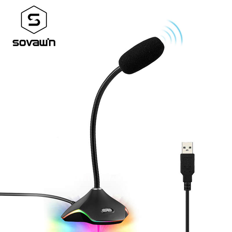 SOVAWIN Professional USB Gaming Microphone For <font><b>PC</b></font> Desktop Notebook Omnidirectional <font><b>Capacitor</b></font> Wired Microphones Colorful Light image