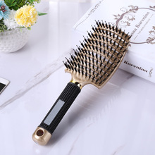 Nylon Hair Scalp Massage Comb Hairbrush Bristle Women Wet Curly Detangle Hair Brush for Salon Hairdressing Styling Tools 4 color women hair scalp massage comb bristle nylon hairbrush wet curly detangle hair brush for salon hairdressing styling tools