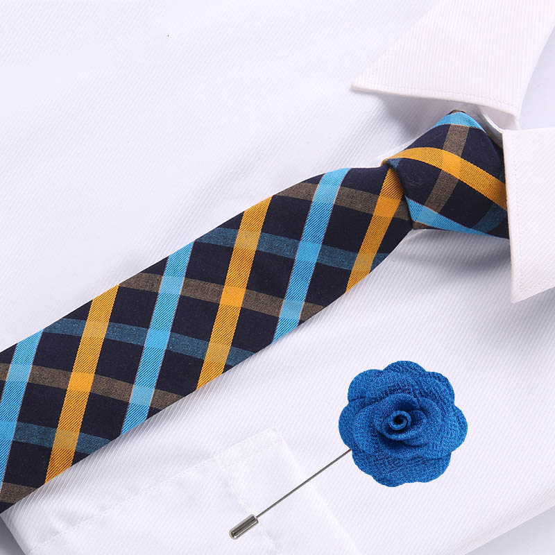 6.5cm Mens Business Cotton Tie Formal Blue Yellow  Jacquard Wedding Necktie Narrow Classic & Flower Pin