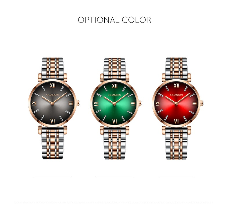 Woman Watch 2019 GUANQIN GS19122 Quartz Luxury Brand Ladies Watch Green Waterproof Simple Fashion Wrist Watch Tool Dropshipping (14)