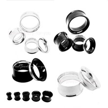 1pair Punk Ear Plug Stainless Steel Screw Gauges Double Flared Flesh Tunnel Expanders Piercing Jewelry For Women Men