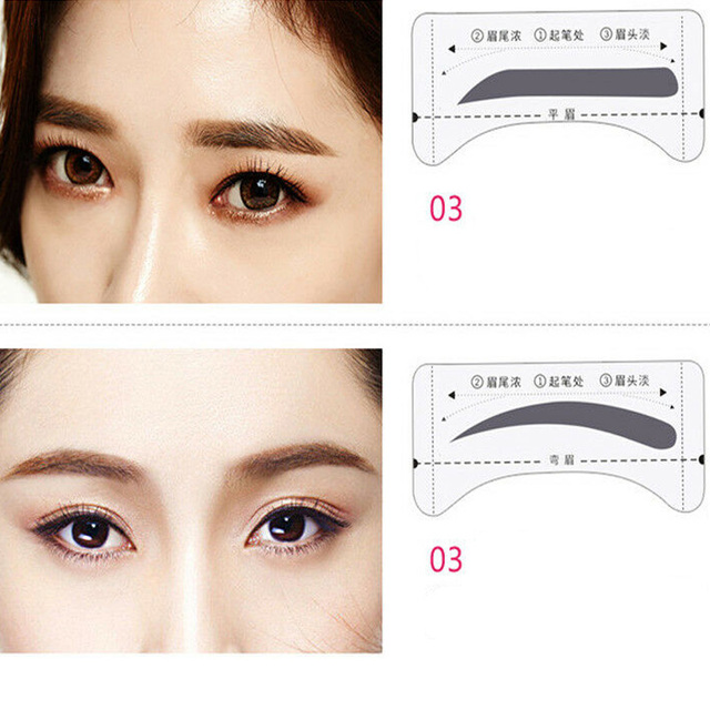 8Pairs Template Eyebrow Drawing Card Stickers Brow Stencil Make Up Grooming Tool 2