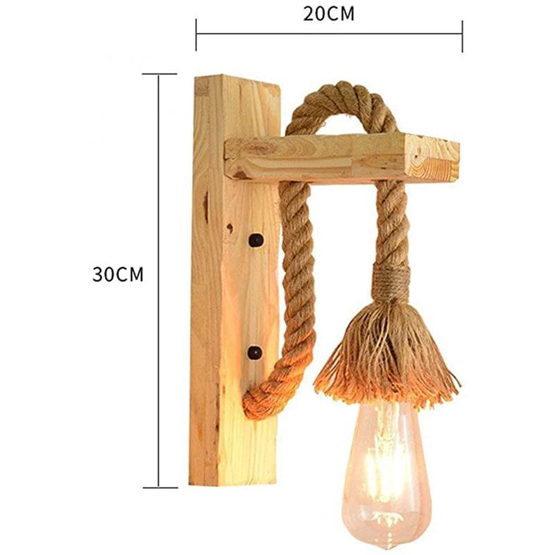 Industrial Wood Wall Lamp Hemp Rope Lamp/Vintage Wall Light Restaurant Bedroom Corridor Staircase,Creative Decoration