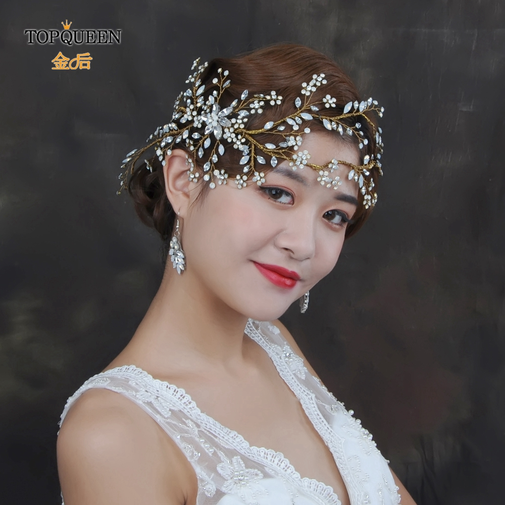 TOPQUEEN Golden Bride Crown Bridal Hair Accessories Opal Diamond Wedding Headband Big Pageant Crowns And Tiara HP194