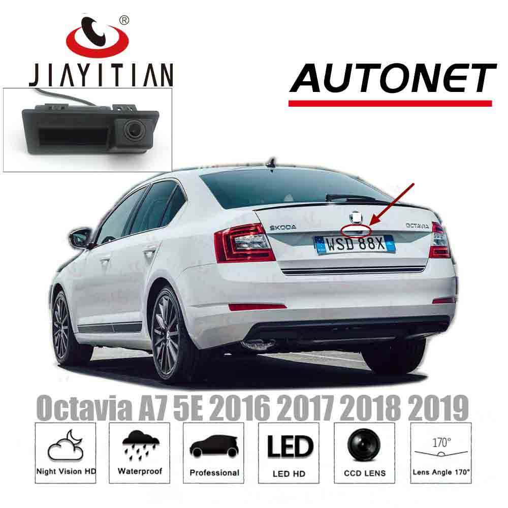 JIAYITIAN HD Rear View Camera For Skoda Octavia MK3 A7 5E 2015 2016 2017 2018 2019 Superb MK3 Trunk Handle Camera Backup Camera