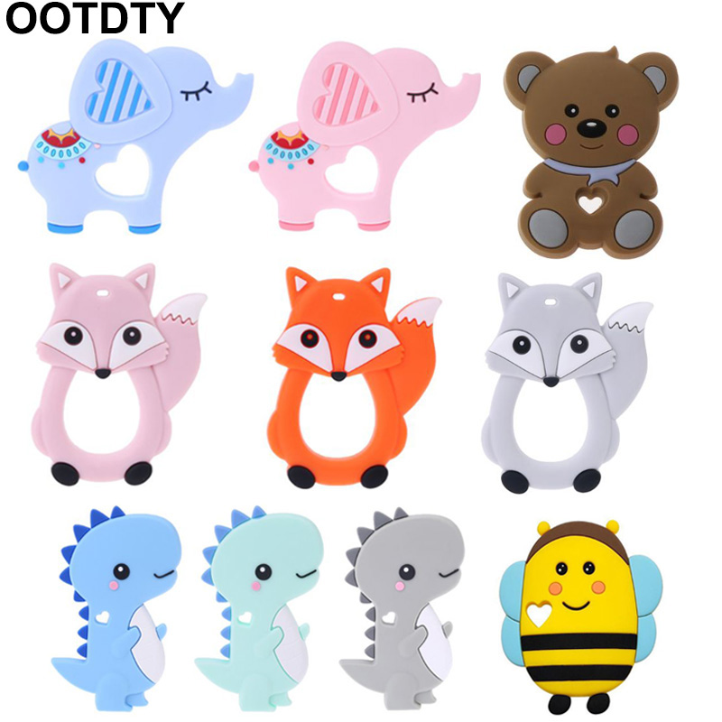 Baby Silicone Teether Newborn Soother Chewable Teething Toy Cartoon Dinosaur Bee Elephant Fox Bear Shaped Safety Soft Kids Toys