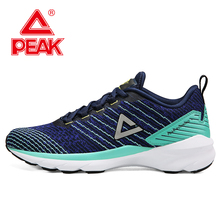 PEAK Men Cushion Running Shoes Lightweight Breathable Mesh Sneakers Leisure Lifestyle Sports Shoes Fitness Sneakers li ning 2018 men color zone cushion running shoes breathable mono yarn li ning light weight sports shoes sneakers arhn101
