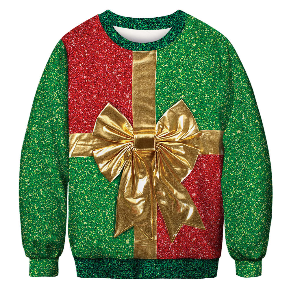 Christmas Gift Santa Claus  Christmas Deer Snowman 3D Patterned Ugly Sweater Jerseys And Sweaters Blouses For Men Women Pullover