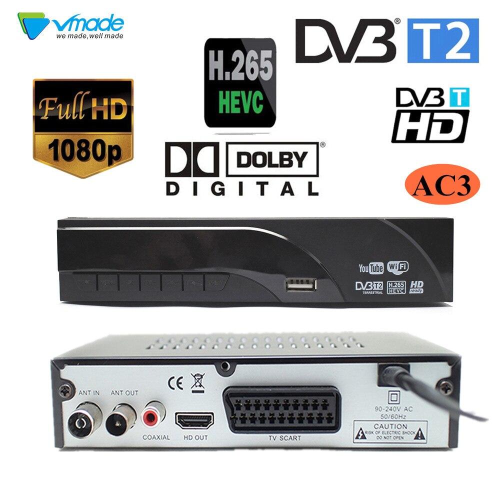 Receptor digital Terrestre DVB-T2 suporta Dolby AC3 H.265/HEVC h265 hevc DVB-T dvb t2 venda quente Europa República Checa