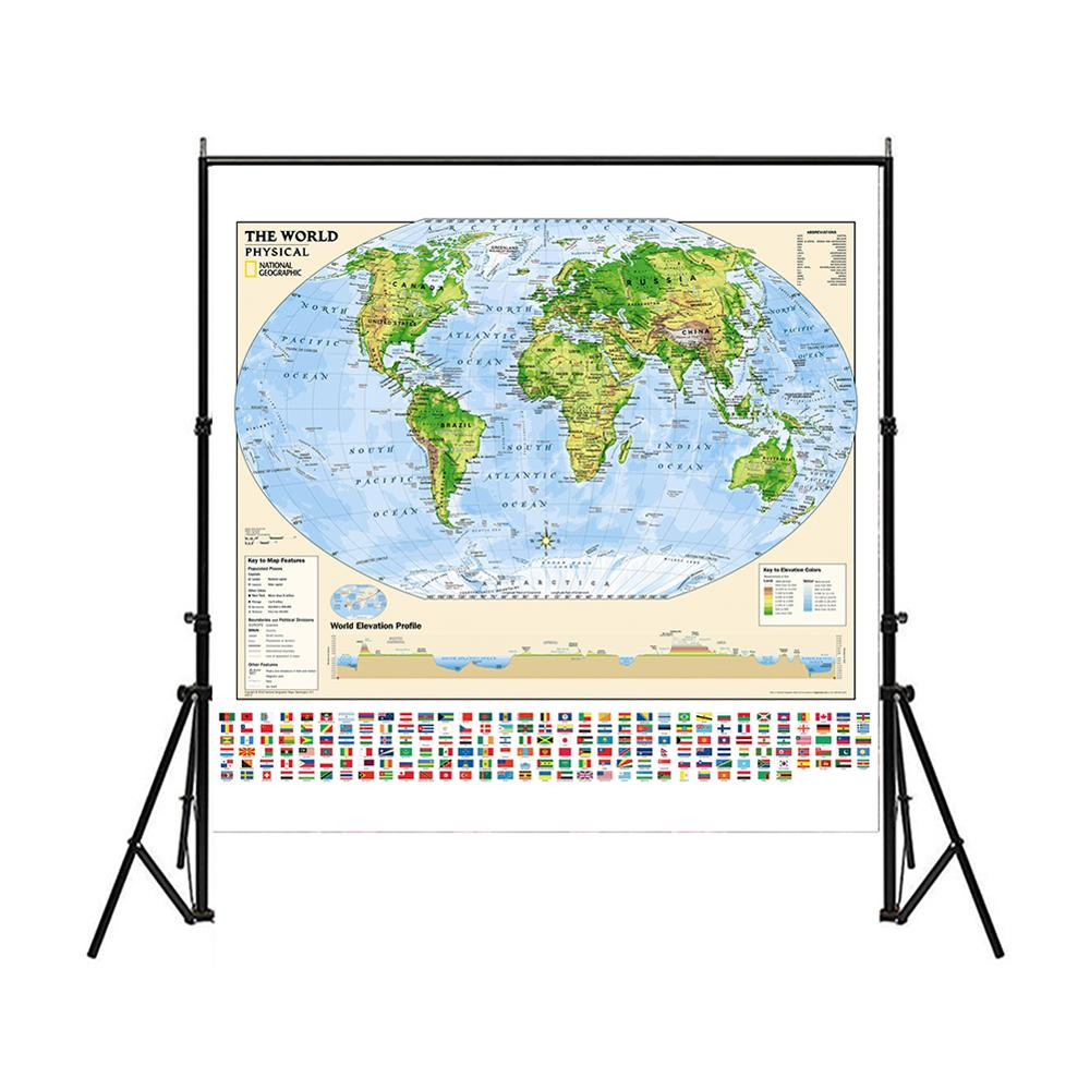 150x150cm World Map Elevation Profile With Key To Map Features And Elevation Colors Non-woven Foldable World Map With Flag