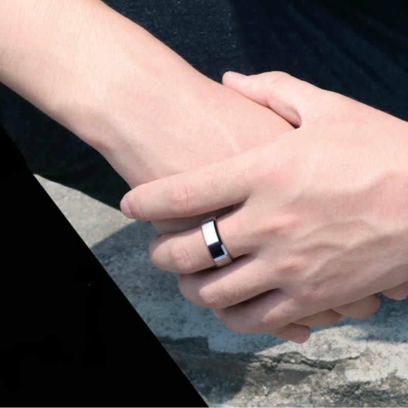 1 pçs amantes dupla borda chanfrada aço titanium dedo anéis festa favores para homens e mulheres anéis festa decoração presentes suprimentos
