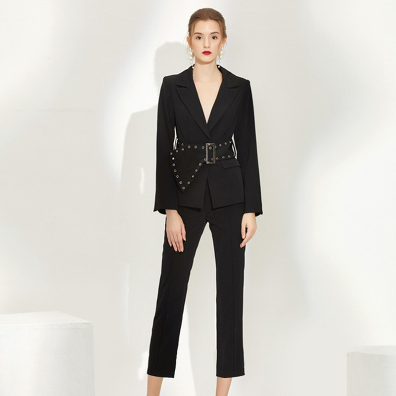 Women Pants Suits Set For Work OL Ladies Office Work Blazer Jacket With Belt Pencil Pants Trousers Black Elegant 2 Piece Clothes