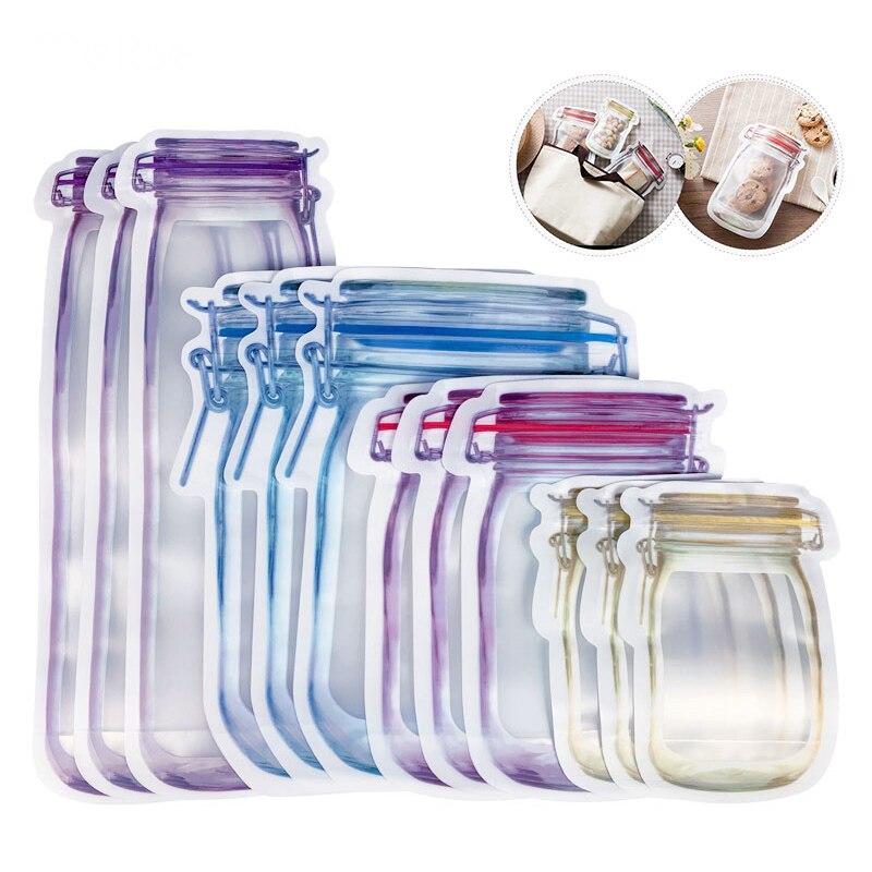 Reusable Fresh Food Storage Bag Sealed Mason Jar Bottles Bags for Nuts Candy Cookies Snacks Sandwich Zip Lock Bag Waterproof
