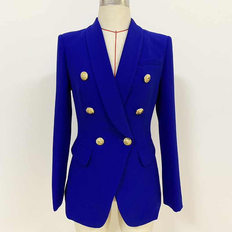 2020 Spring Autumn Slim Blazer Jacket Women Metal Button Double Breasted Solid Suit Coat Female Tops Office Lady Blazer Feminino