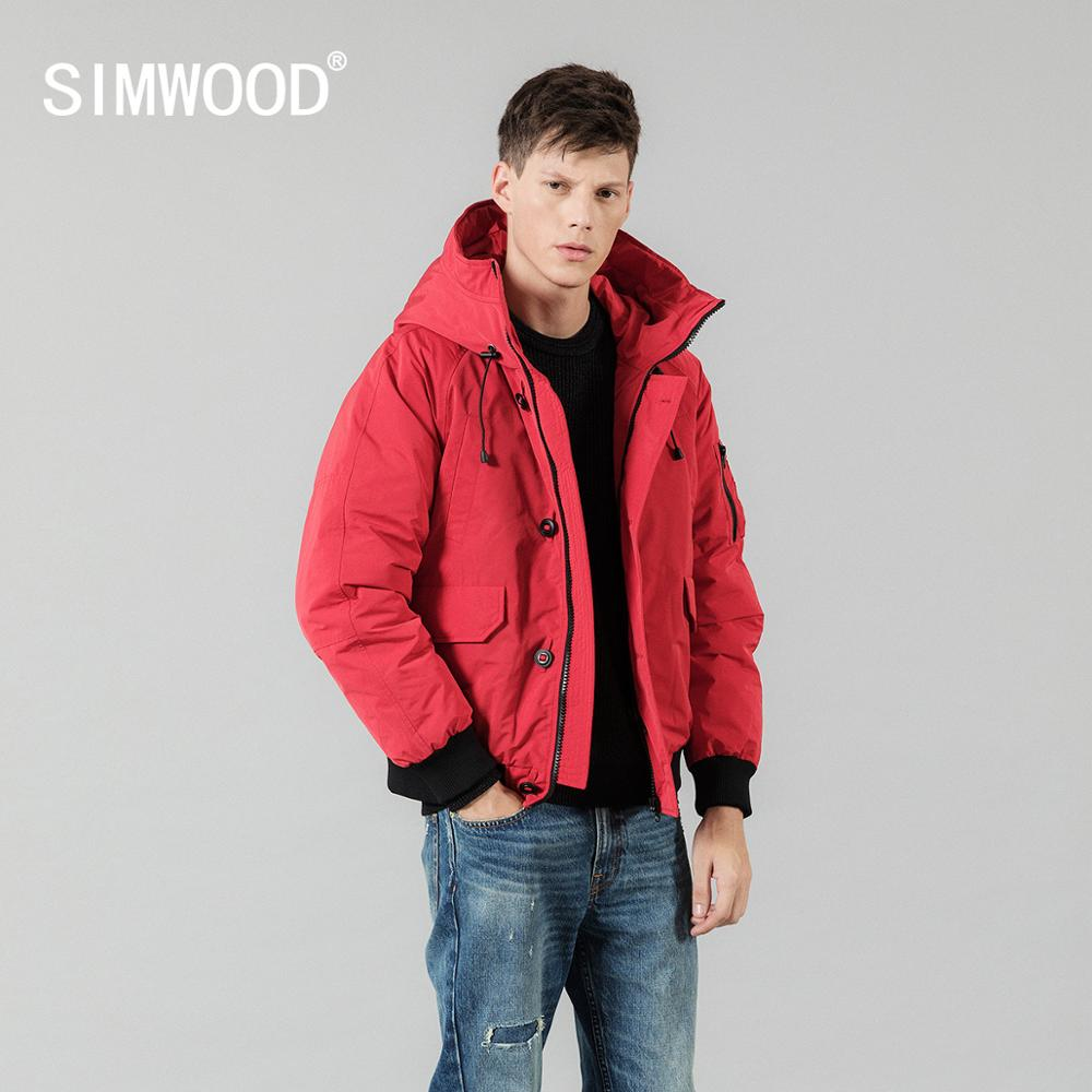 SIMWOOD 2019 Winter Warm Short 90% Grey Duck Down Jacket Men Fashion Hooded Bomber Coats High Quality Brand Clothing Male 180294