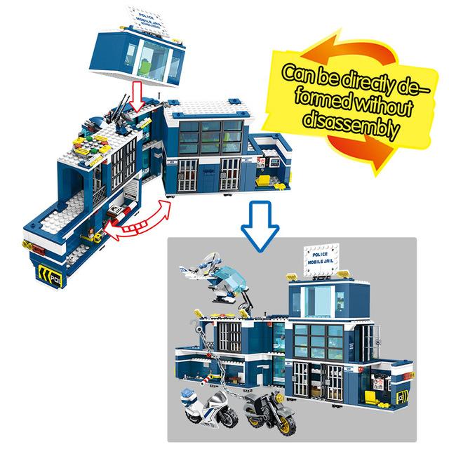City Technic Swat Mobile Prison Deformation Truck Car Building Blocks Diy Police Station Bricks Educational Toys for Children