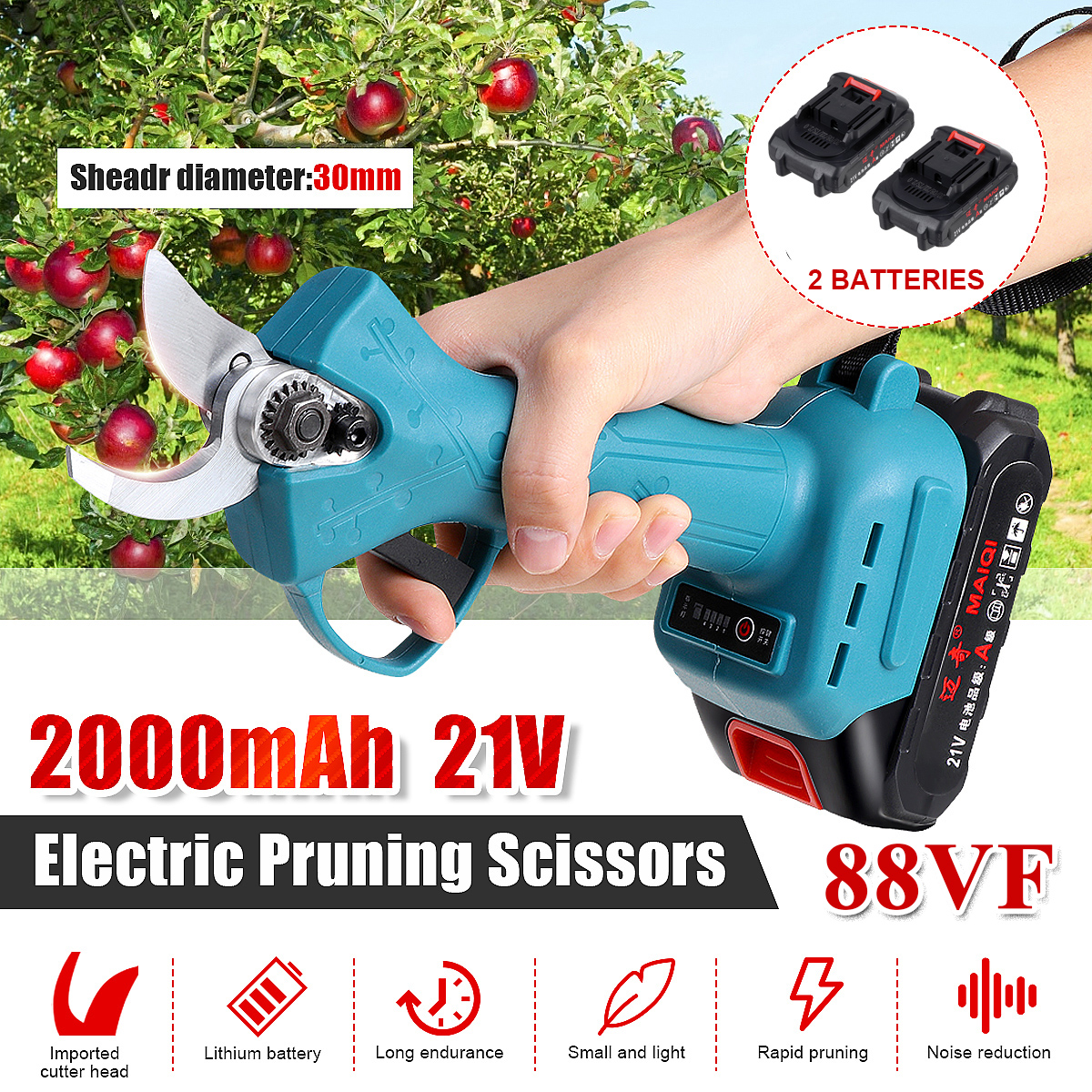21V 88VF Cordless Rechargeable Electric Pruning Shear Scissors Branch Cutter Secateur Garden Pruner with 2 Lithium-ion Battery