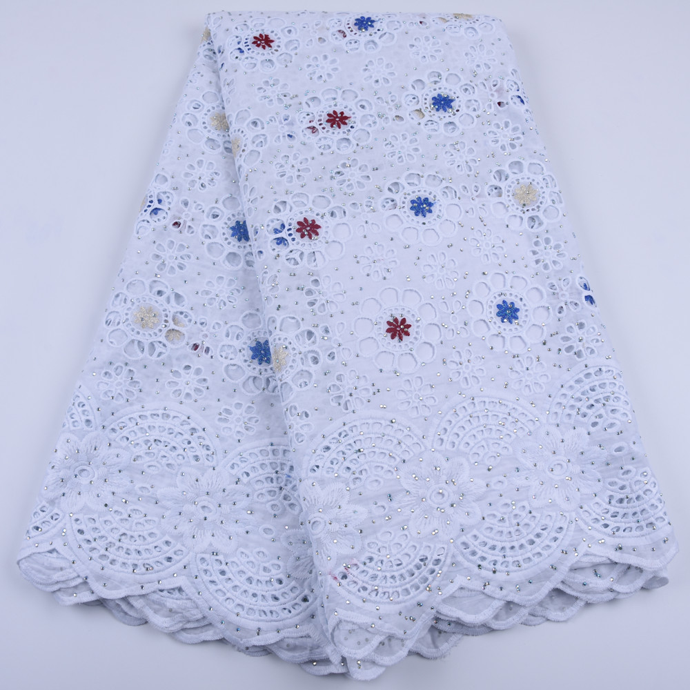 Image 2 - White African Cotton Lace Fabric High Quality Stones Swiss Voile  Lace Cotton Lace Nigerian Dry Lace Fabric For Wedding A1679Lace   -